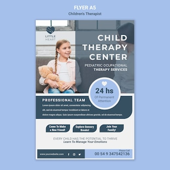 Шаблон флаера концепции детского терапевта