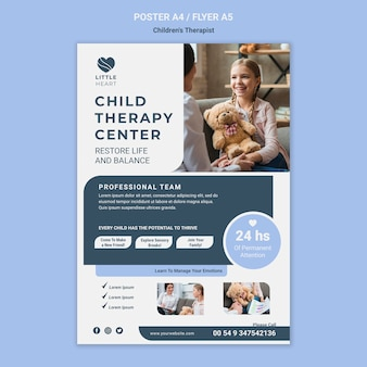 Modello di poster di concetto di terapista per bambini