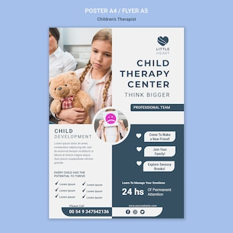 Children's therapist concept poster template