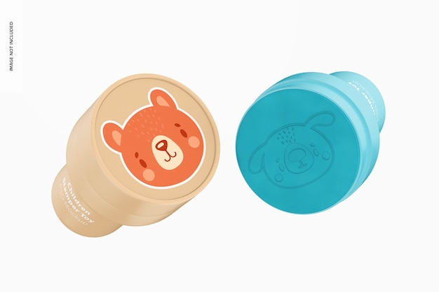 Bambini stamper toys mockup, galleggiante