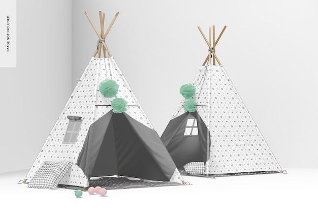 Мокап детских палаток вигвама