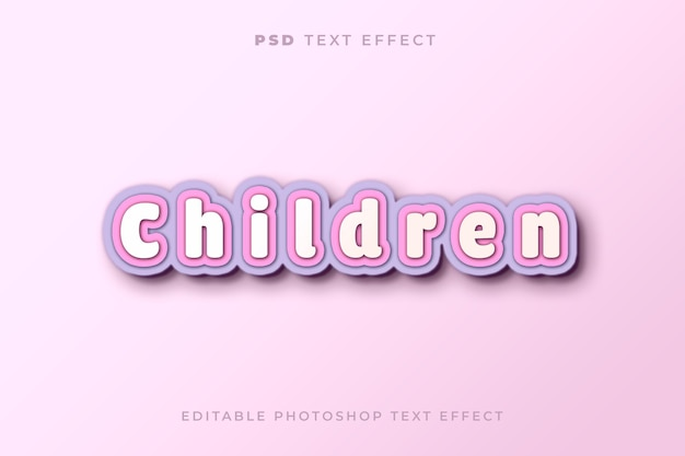 Children text effect template with paper craft style