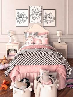 フレームモックアップ付きのクラシックなスタイルの女の子のための子供部屋