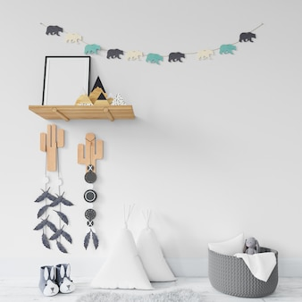 Детская комната с полками и игрушками