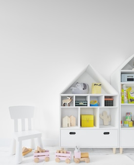 Childroom with shelves and toys