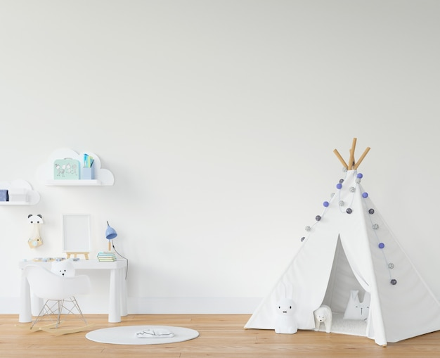 Childroom with white teepee