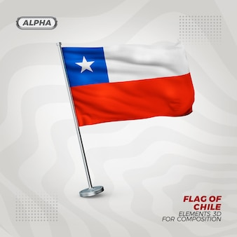 Реалистичный 3d текстурированный флаг чили