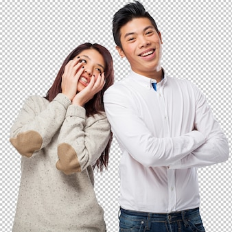 Chinese couple joking