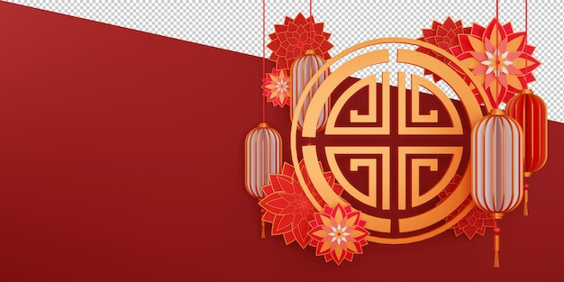 Chinese happy new year design in 3d rendering