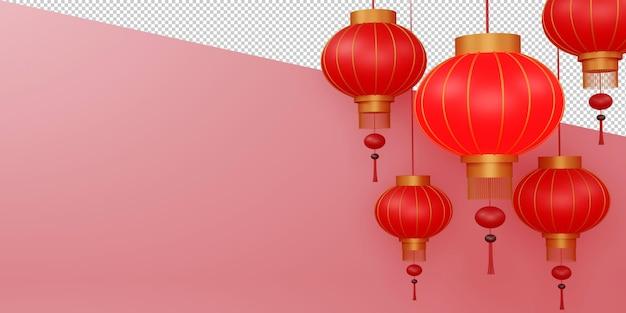 3d 렌더링에서 중국 새해 복 많이 받으세요 디자인