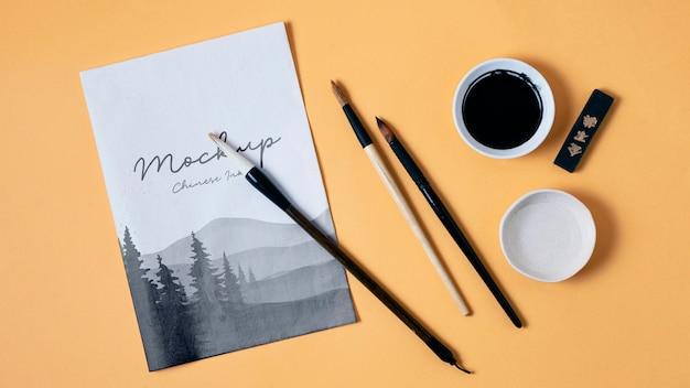 Ассортимент китайских чернил с бумажным макетом