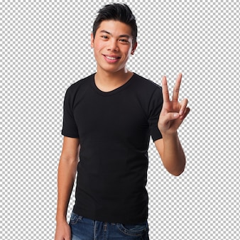 Chinese man doing a victory sign