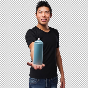 Chinese man holding a spray