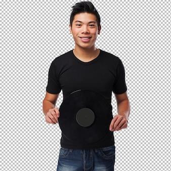 Chinese man holding a vinyl