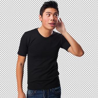 Chinese man listening gesture