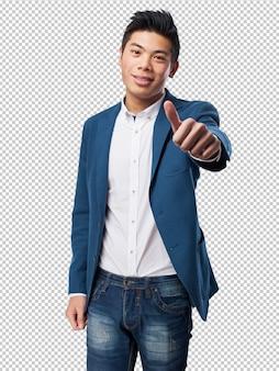 Chinese man okay gesture