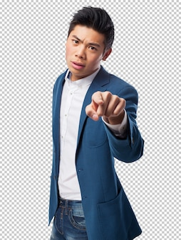 Chinese man pointing front