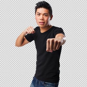 Chinese man punching