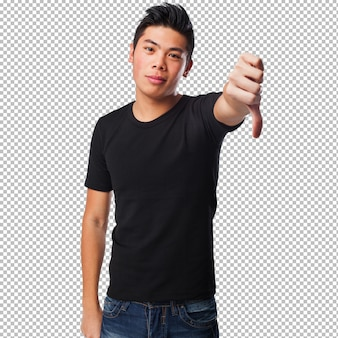 Chinese man with thumb down