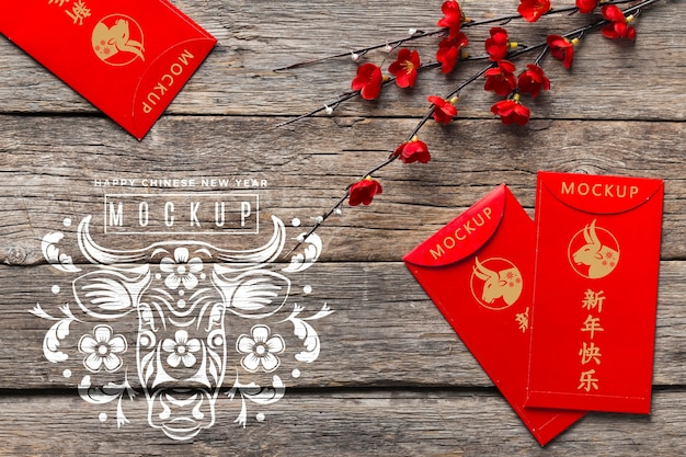 Chinese new year 2021 red envelopes mock-up