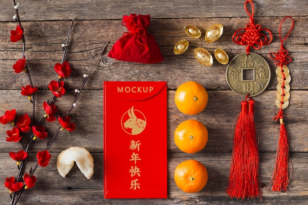 Chinese new year 2021 with tangerines mock-up