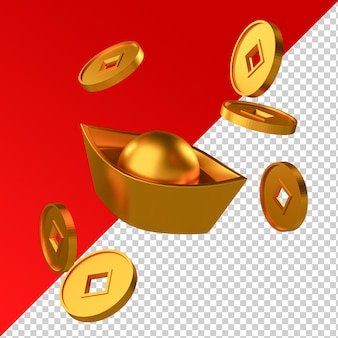 Chinese new year gold coin ingot isolated transparent 3d rendering