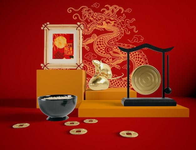 Китайская иллюстрация новый год крысы золотистый