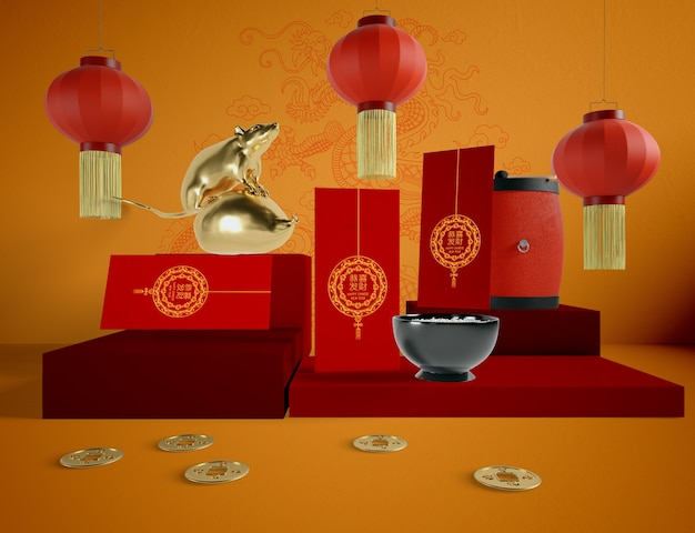 Chinese new year illustration with greeting cards and golden rat