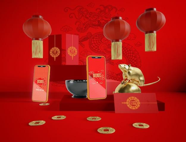 携帯電話のモックアップと中国の旧正月イラスト