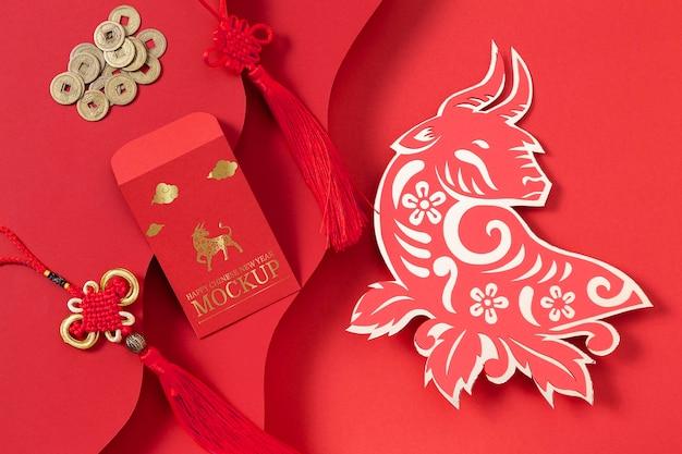 Assortimento di elementi di mock-up isometrici di capodanno cinese