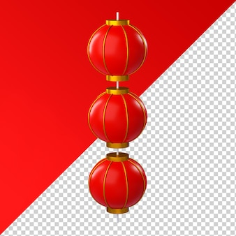 Chinese new year lantern isolated transparent 3d rendering
