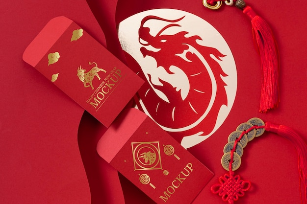 Chinese new year mock-up elements composition