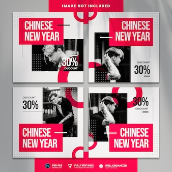Chinese new year sale social media template