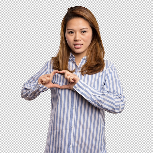 Chinese woman doing heart symbol with her fingers