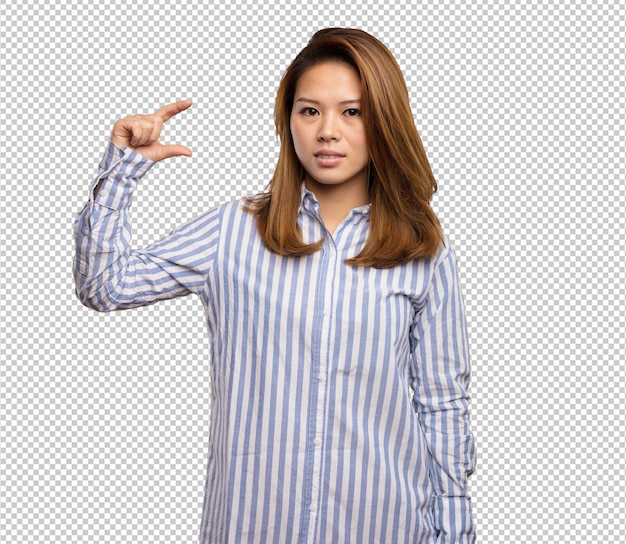 Chinese woman doing size gesture