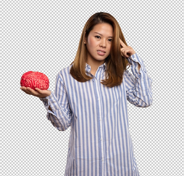 Chinese woman holding a brain