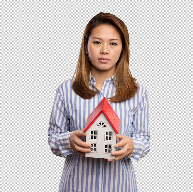Chinese woman holding a small house