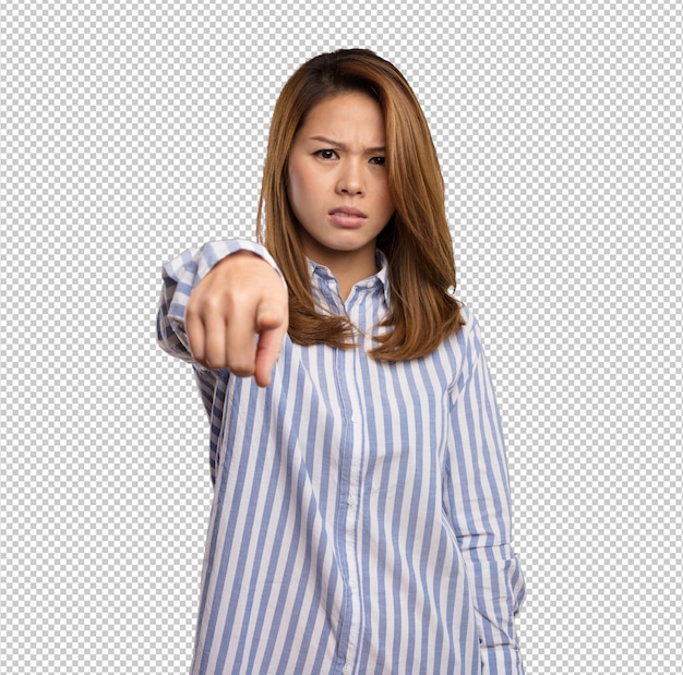 Chinese woman pointing front