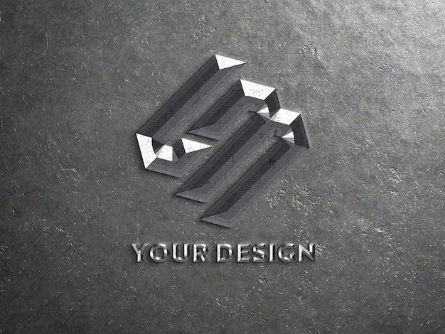Chiselled metal logo mockup