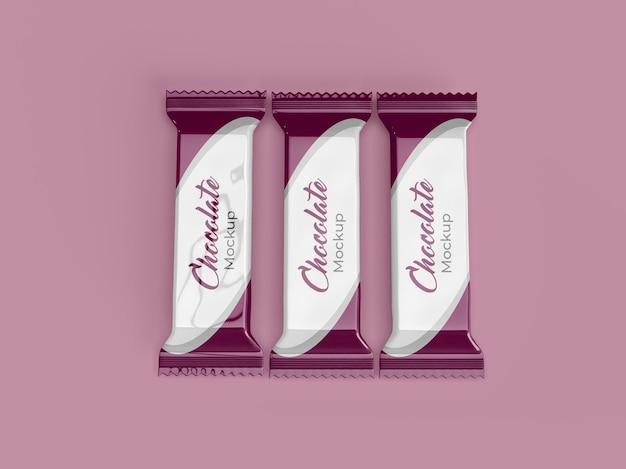 Пакет шоколадных конфет или макет дизайна упаковки