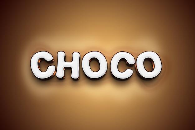 Шаблон эффекта стиля белого текста choco 3d Premium Psd