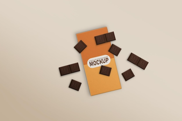 Chocolate bar box with scattered chocolates mockup