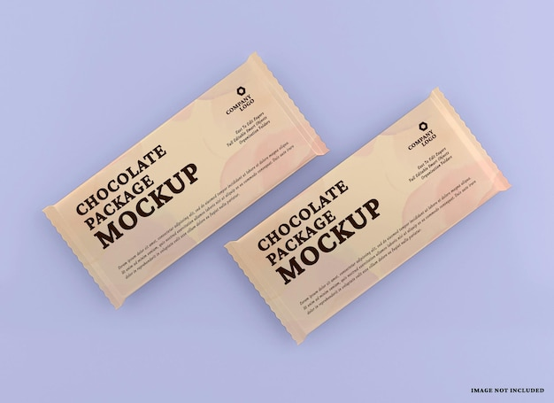 Chocolate bar package mockup design isolated