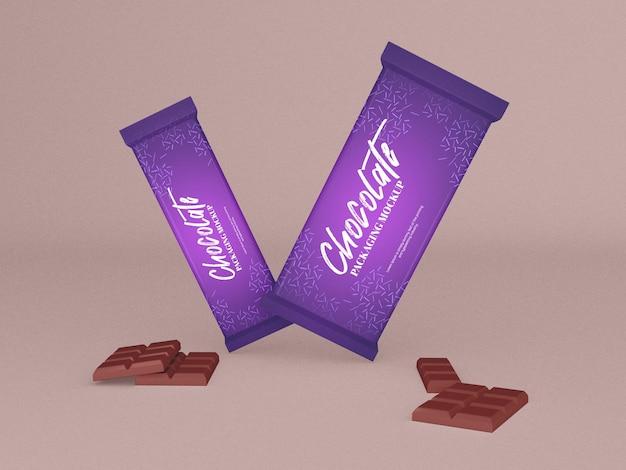 チョコレートバーのパッケージのモックアップ