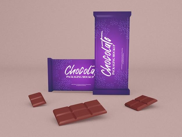 Mockup di confezione di barrette di cioccolato