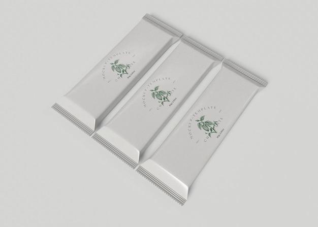 Мокап упаковки шоколадных батончиков