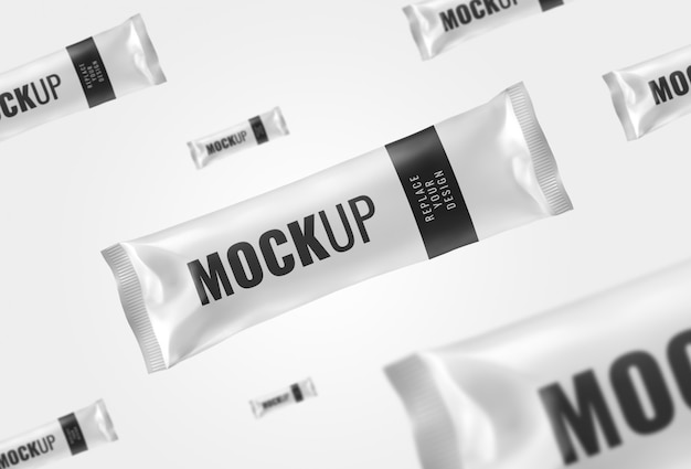 Chocolate bar sachet mockup advertising rendering