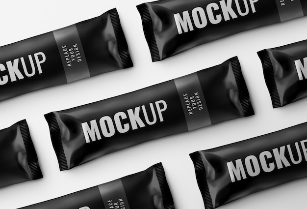 Шоколадная плитка саше макет рекламы рендеринга