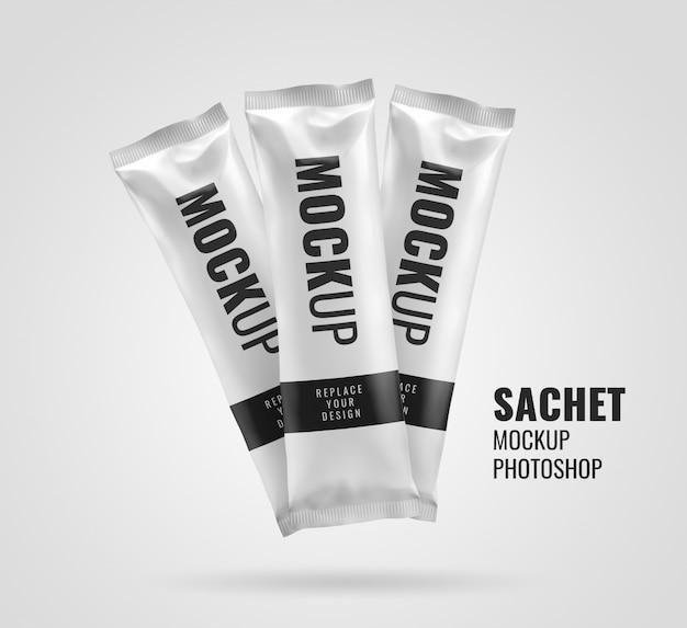 Chocolate bar sachet mockup rendering
