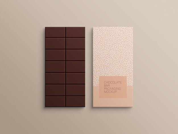 Progettazione di mockup di imballaggio in carta da imballaggio con barretta di cioccolato